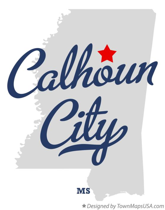 Map of Calhoun City Mississippi MS