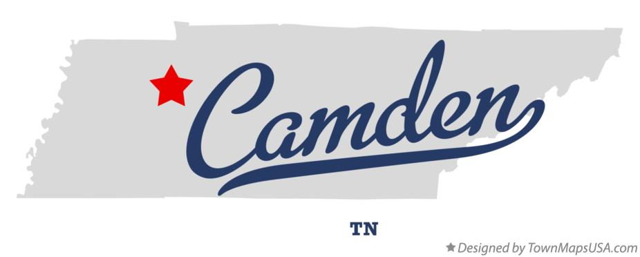 Map of Camden Tennessee TN