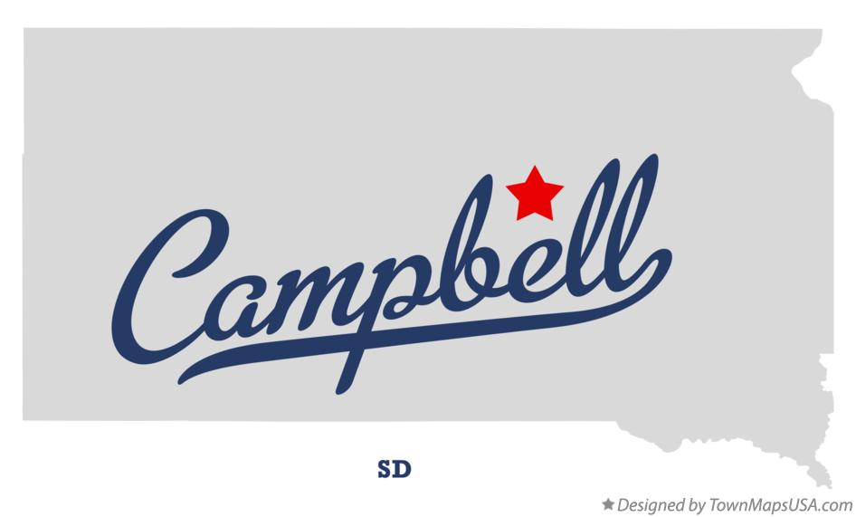 Map of Campbell South Dakota SD