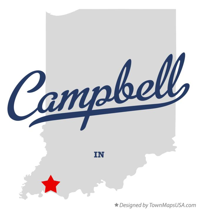 Map of Campbell Indiana IN