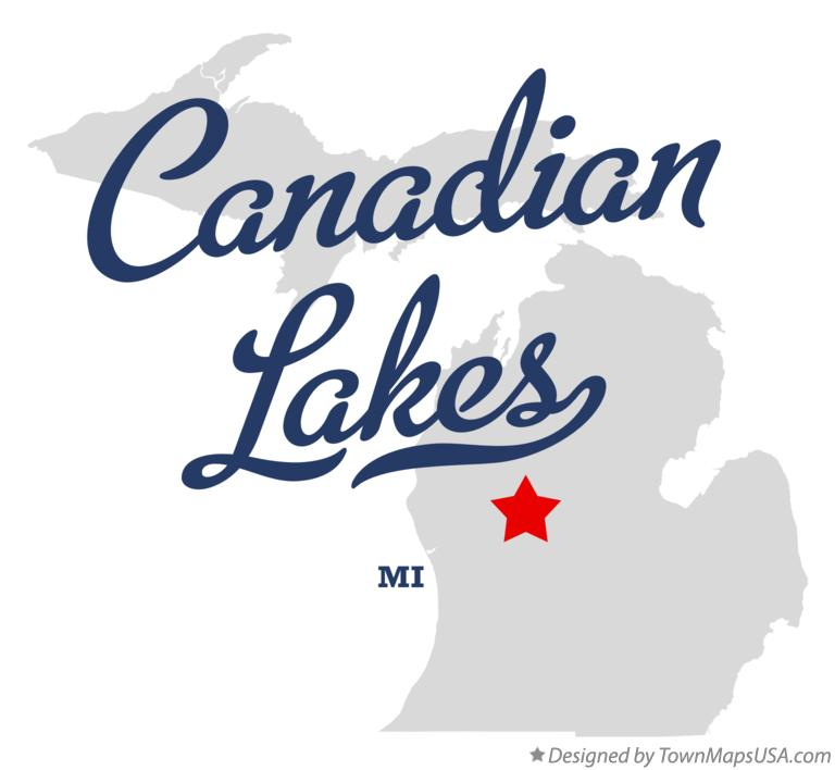 Map of Canadian Lakes Michigan MI