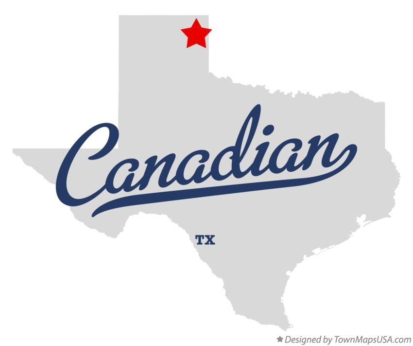 Map of Canadian Texas TX