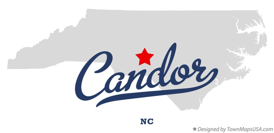 Map of Candor North Carolina NC