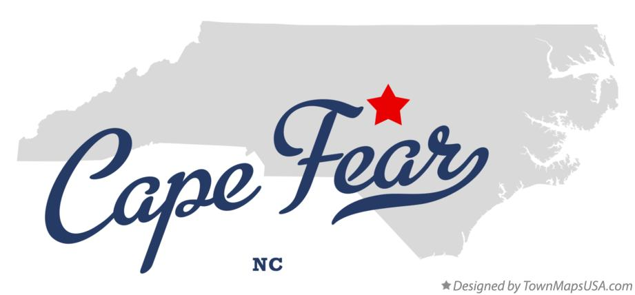 Map of Cape Fear North Carolina NC