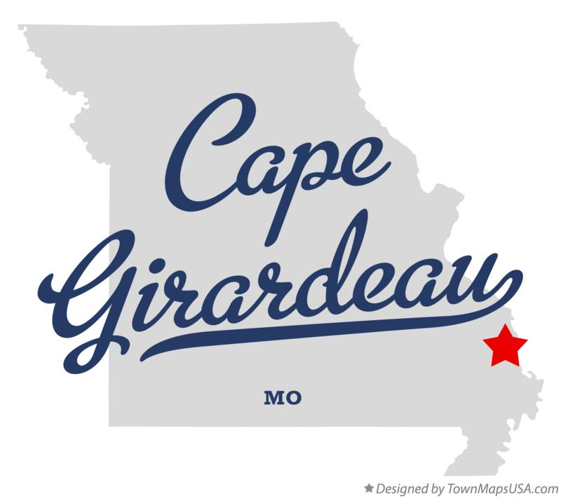 Map of Cape Girardeau Missouri MO