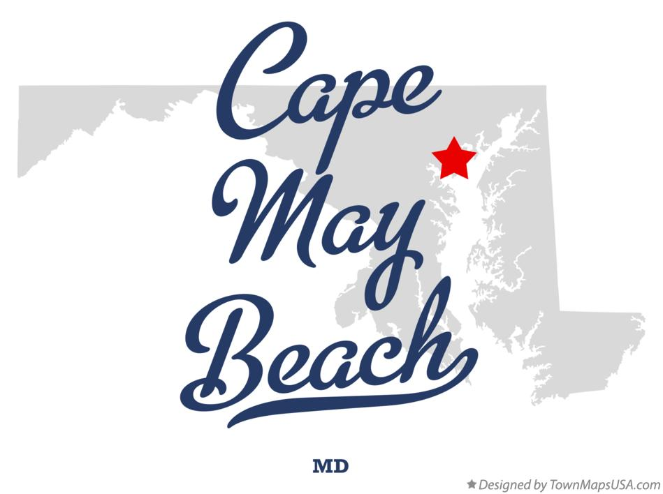 Map of Cape May Beach Maryland MD