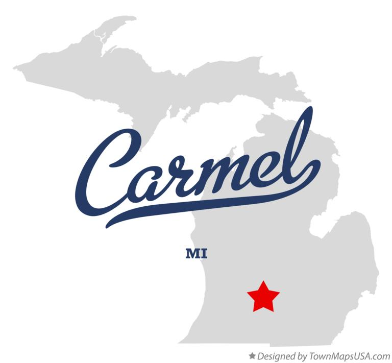 Map of Carmel Michigan MI