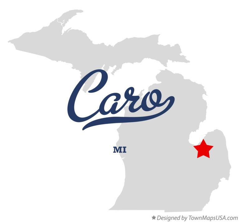 Map of Caro Michigan MI