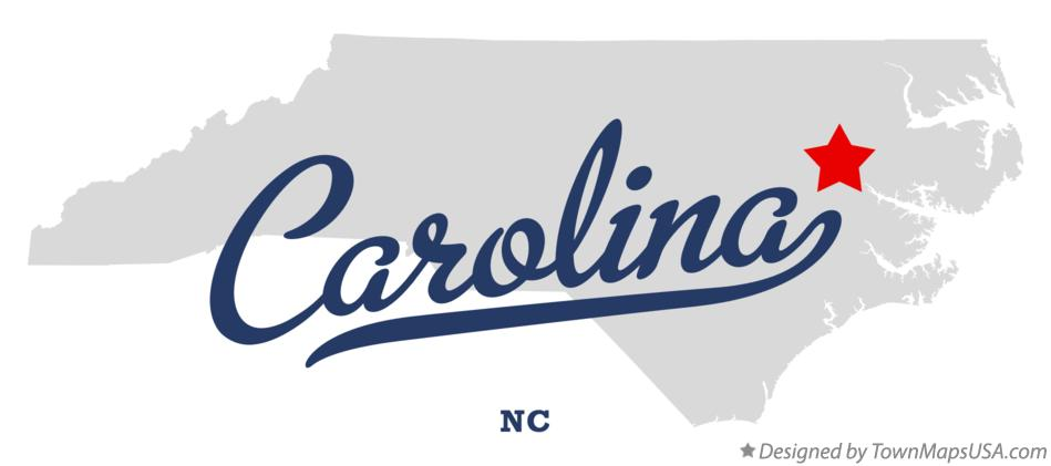 Map of Carolina North Carolina NC