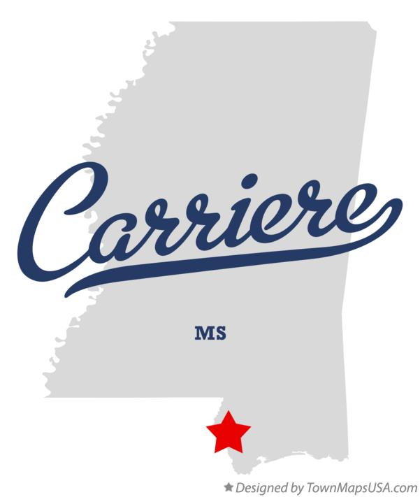Map of Carriere Mississippi MS