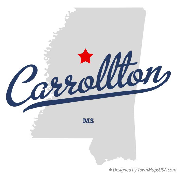 Map of Carrollton Mississippi MS