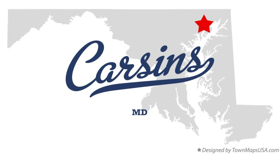 Map of Carsins Maryland MD