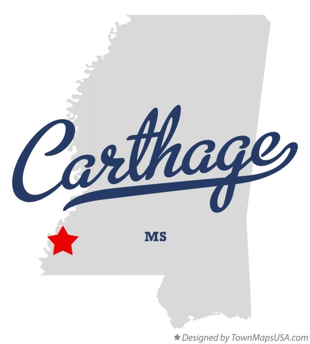 Map of Carthage Mississippi MS