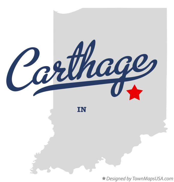 Map of Carthage Indiana IN