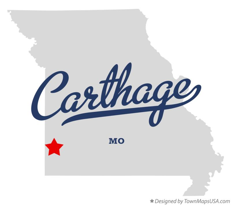 Map of Carthage Missouri MO