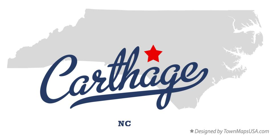Map of Carthage North Carolina NC