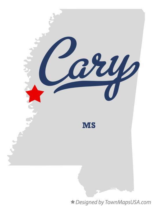 Map of Cary Mississippi MS