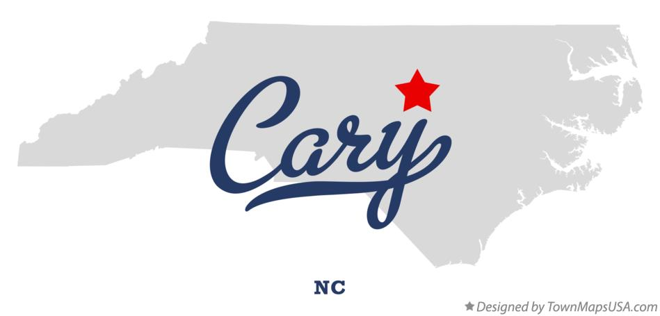 Map of Cary, NC, North Carolina