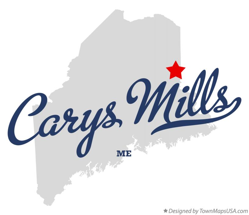 Map of Carys Mills Maine ME