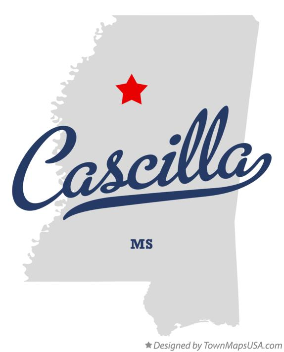 Map of Cascilla Mississippi MS