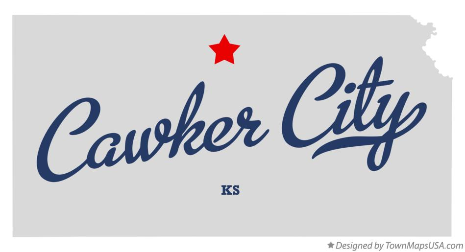 Map of Cawker City Kansas KS