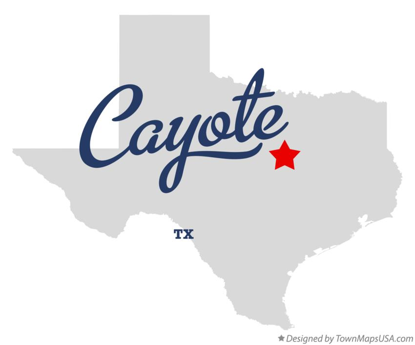 Map of Cayote Texas TX