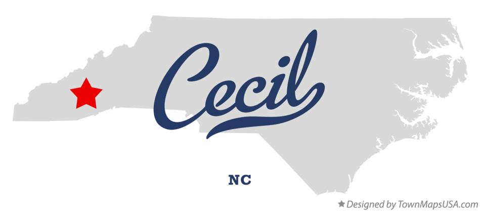 Map of Cecil North Carolina NC