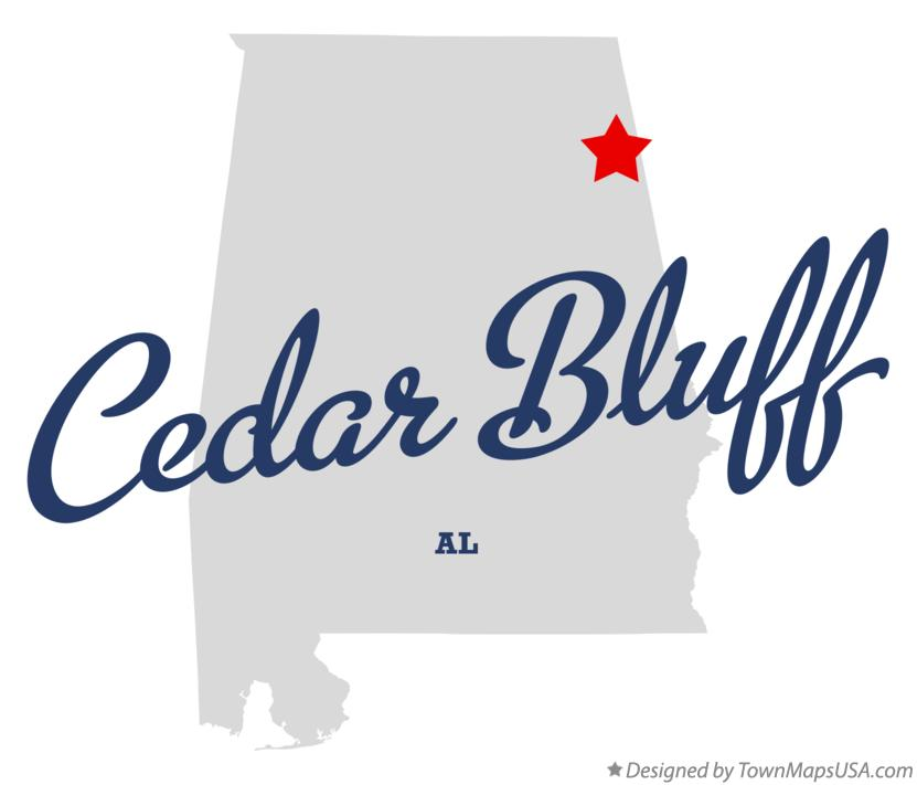 Map of Cedar Bluff Alabama AL