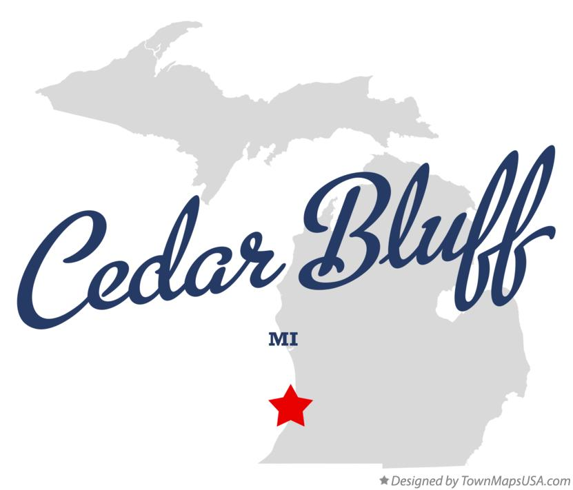 Map of Cedar Bluff Michigan MI