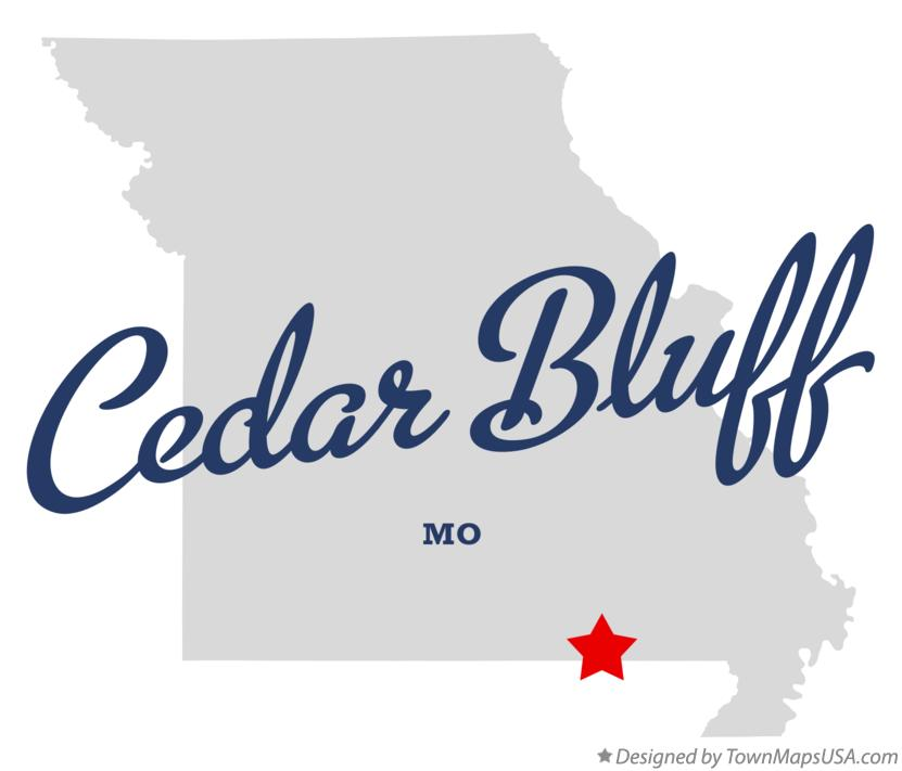 Map of Cedar Bluff Missouri MO