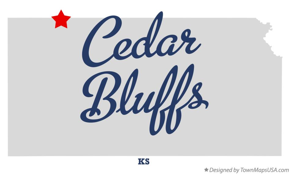 Map of Cedar Bluffs Kansas KS