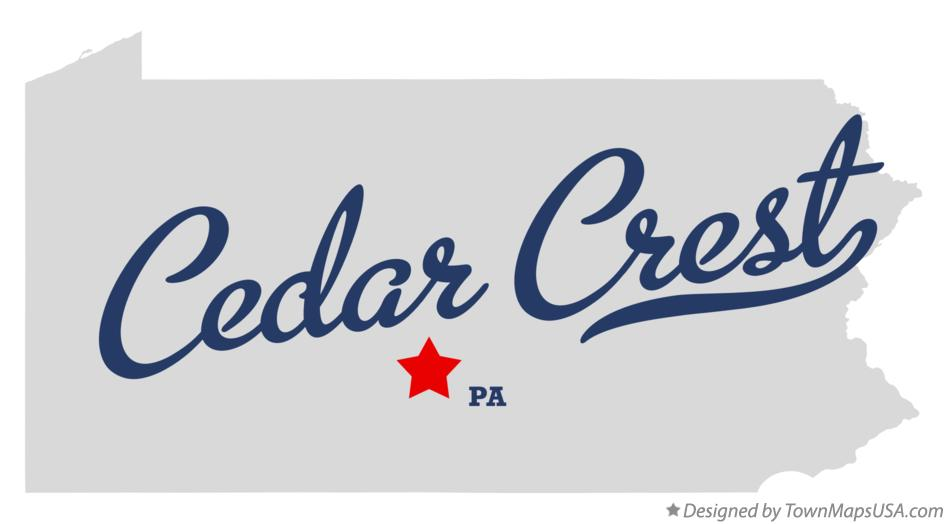 Map of Cedar Crest Pennsylvania PA