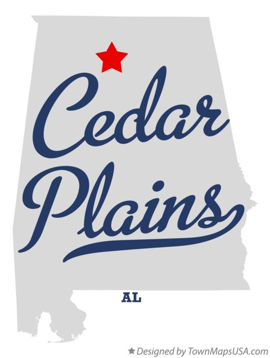Map of Cedar Plains Alabama AL