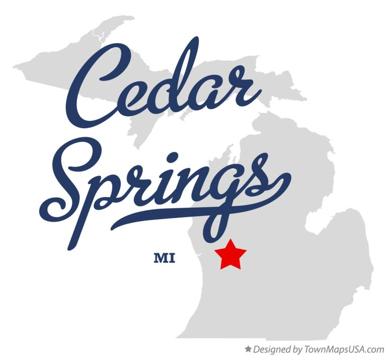 Map of Cedar Springs Michigan MI