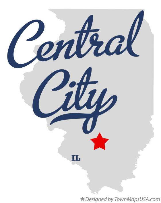 Map of Central City Illinois IL