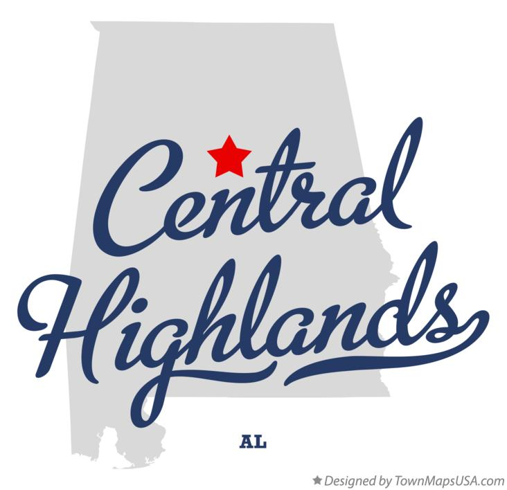 Map of Central Highlands Alabama AL