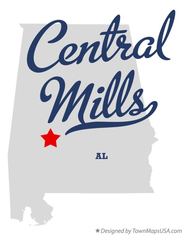 Map of Central Mills Alabama AL