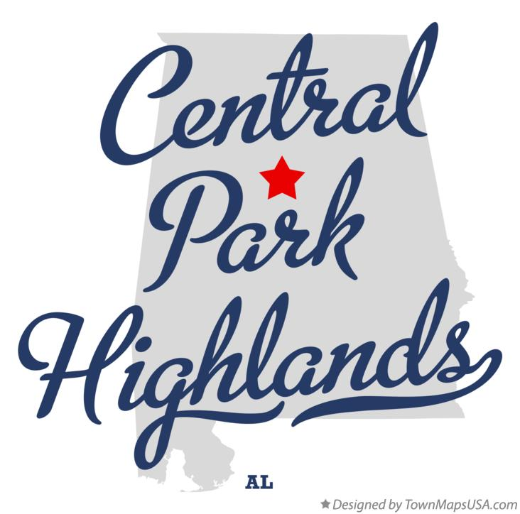 Map of Central Park Highlands Alabama AL