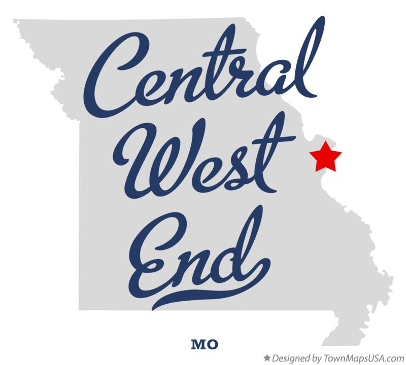 Map of Central West End Missouri MO