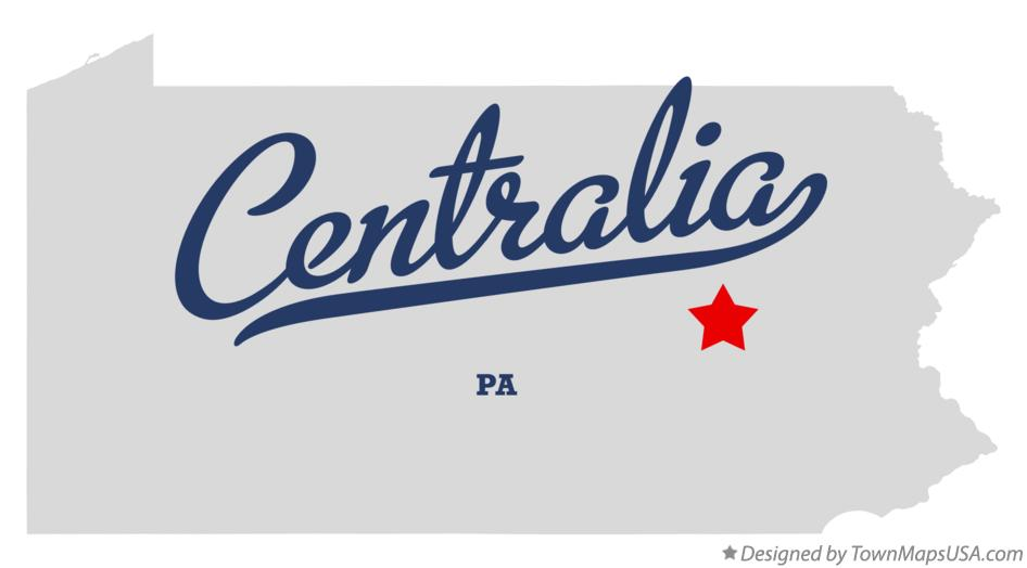 Map of Centralia Pennsylvania PA