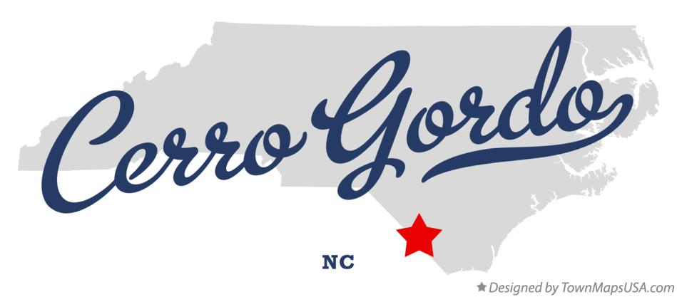 Map of Cerro Gordo North Carolina NC