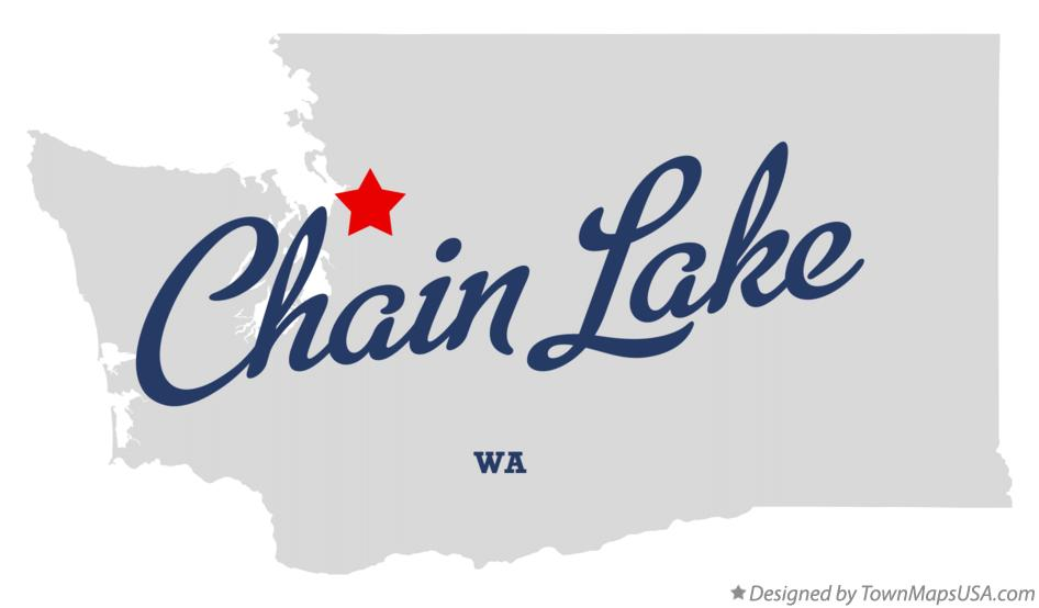 Map of Chain Lake Washington WA