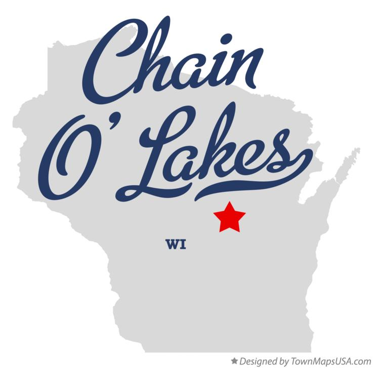 Map of Chain O' Lakes Wisconsin WI