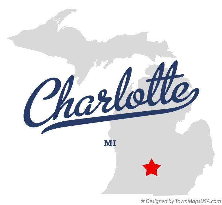Map of Charlotte Michigan MI