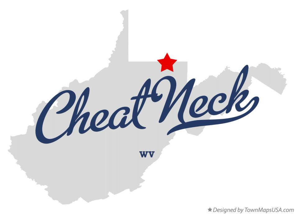 Map of Cheat Neck West Virginia WV