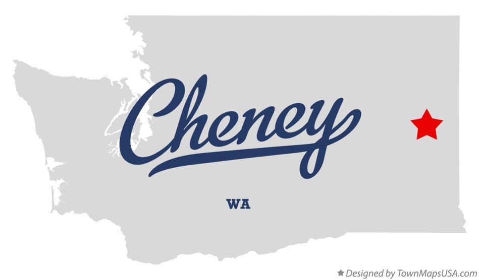 Map of Cheney, WA, Washington
