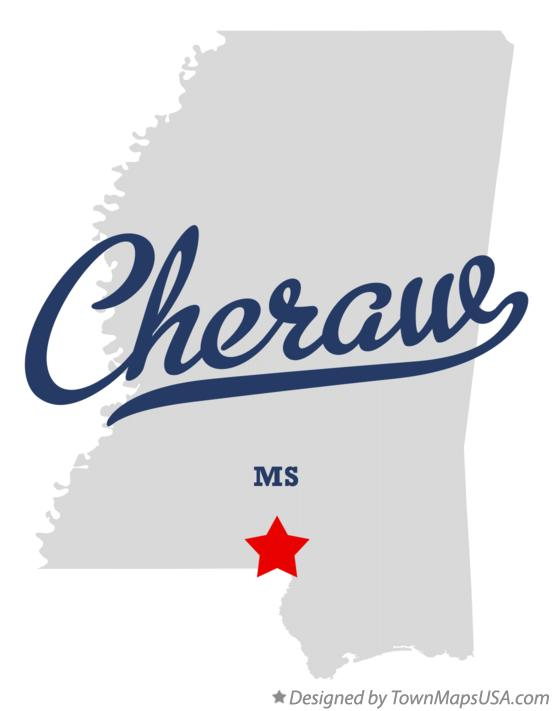 Map of Cheraw Mississippi MS