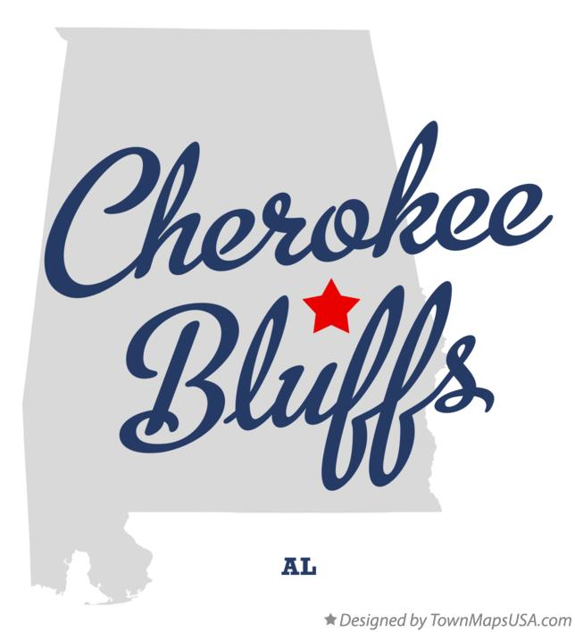 Map of Cherokee Bluffs Alabama AL
