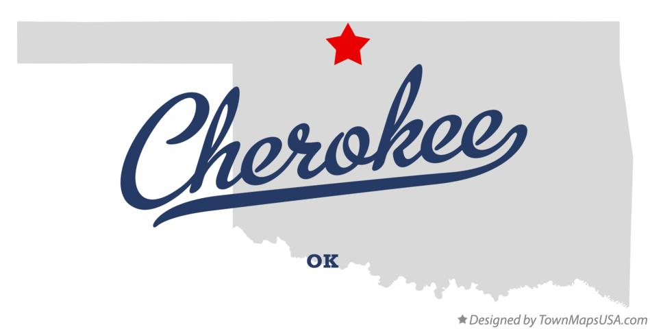 Map of Cherokee Oklahoma OK