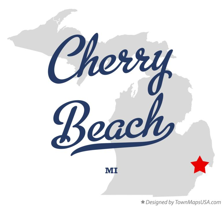 Map of Cherry Beach Michigan MI